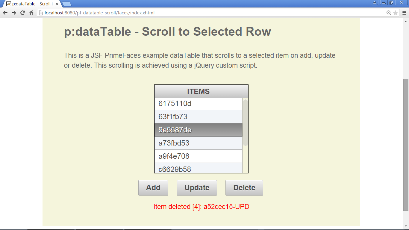 PrimeFaces p:dataTable - Scroll to Selected Row