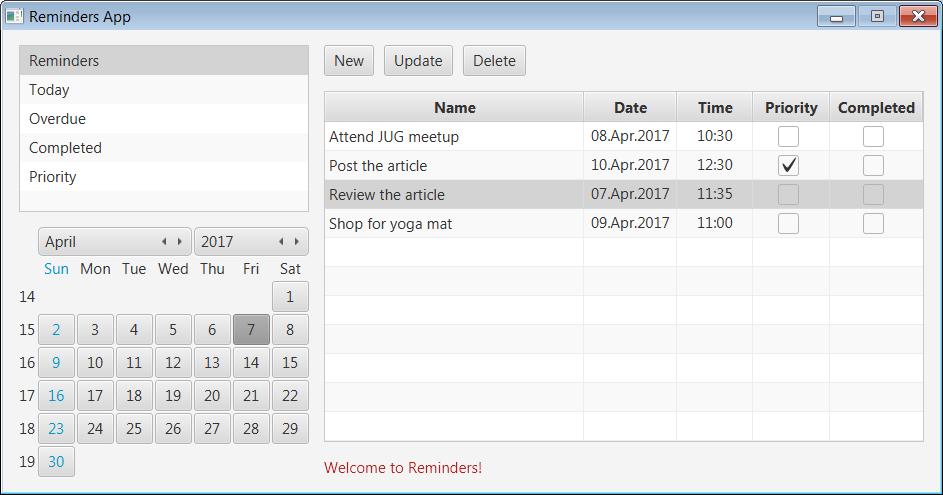 A Reminder App using JavaFX, HSQLDB Database and Spring JDBC