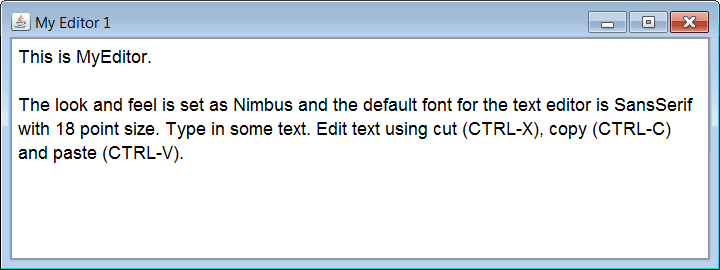 Text editor using Java example