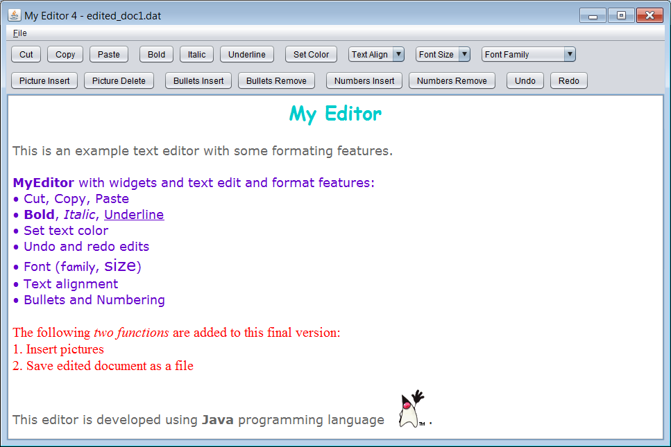 Text Editor Using Java Example